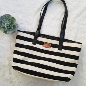 Black and white striped Michael Kors bag
